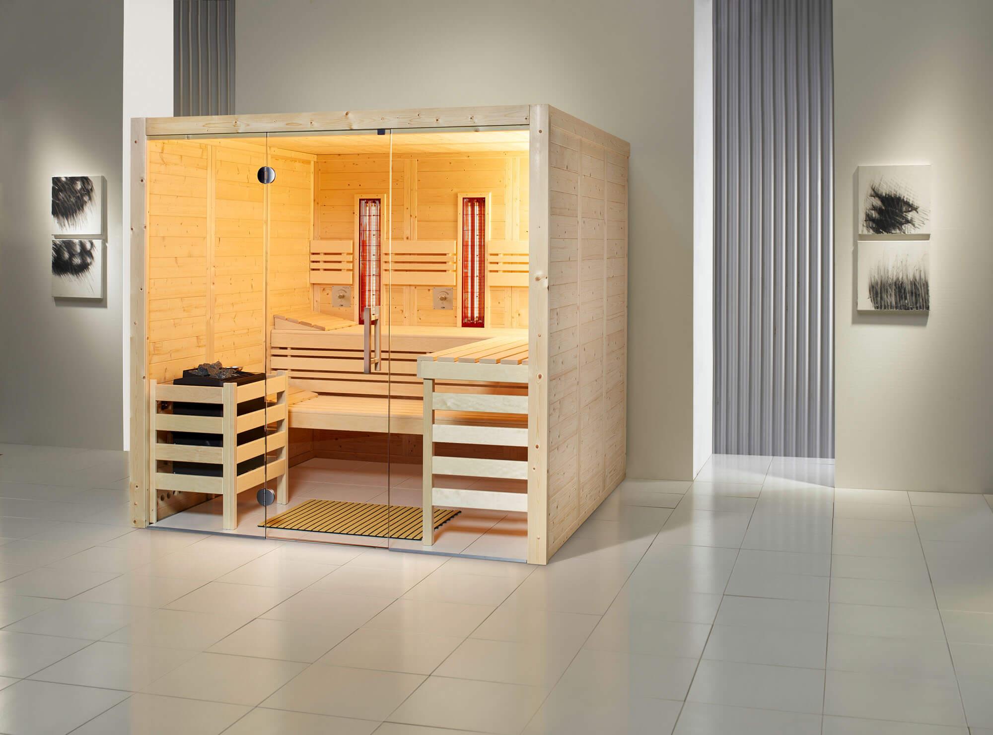 Sauna Opal Massiv mit Infrarot